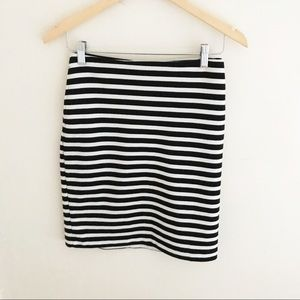 Merona | Black/white Striped Pencil Skirt